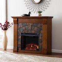 Dencet Electric Fireplace - Salem Antique Oak