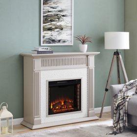 Ulbramp Penny-Tiled Fireplace