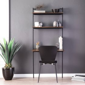 Haeloen Wall Mounted Floating Desk – Dark Tobacco and Black