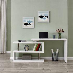 L-Desk With Shelves
