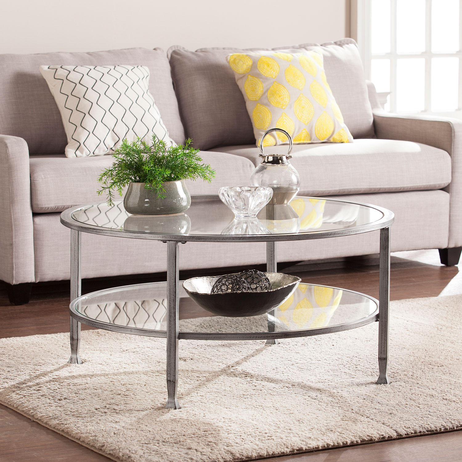 SEI Bakerton Round Cocktail Table (Silver)