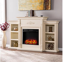 Emerson II Electric Fireplace-Ivory