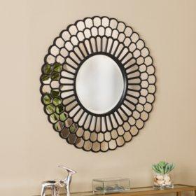 Kinzie Geometric  Wall Mirror, Black