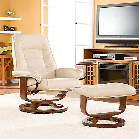 Bridget Leather Recliner and Ottoman (Assorted Colors)