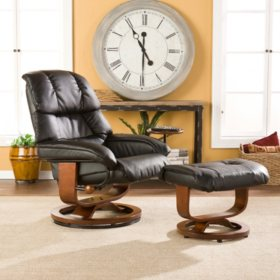 Helena Leather Recliner and Ottoman (Assorted Colors)