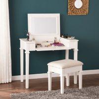 Livi Powered Vanity Desk with Stool, White
