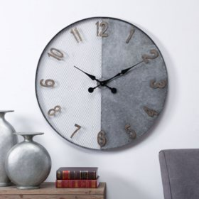 Breanna Oversized Wall Clock, Galvanized Silver