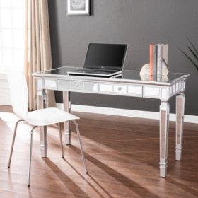 Glenview Glam Mirrored Writing Desk with Drawers