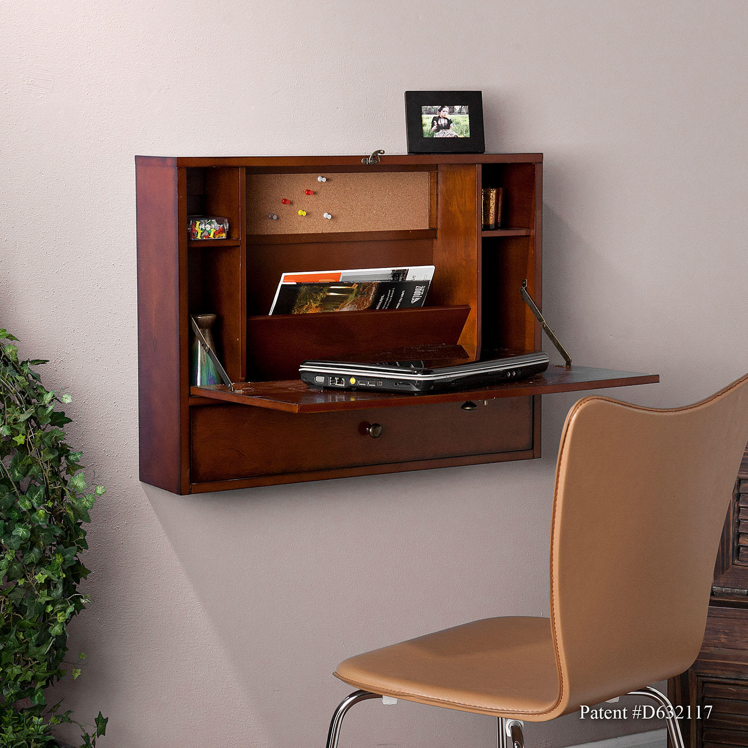 SEI Leighanne Wall Mount Desk Mahogany
