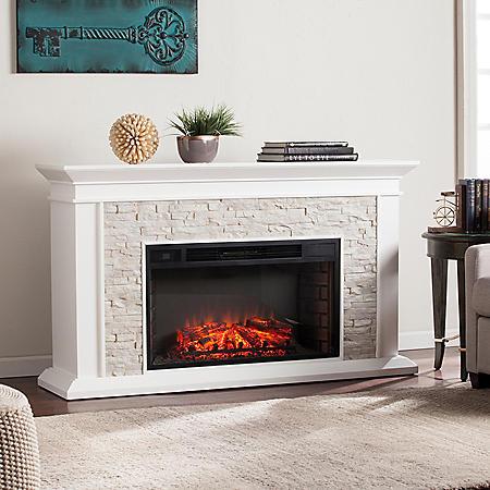 Cumberland Electric Fireplace, White