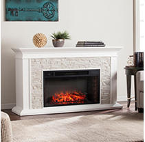 Cumberland Faux Stacked Stone Electric Fireplace - White