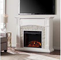 Florencia Electric Media Fireplace - White with White Faux Stone