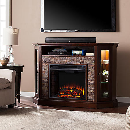Lynsdale Corner Convertible Electric Media Fireplace, Espresso