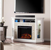 Lynsdale Corner Convertible Electric Media Fireplace-White