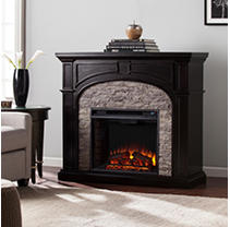 Winsted Electric Fireplace - Ebony with Gray Stacked Stone