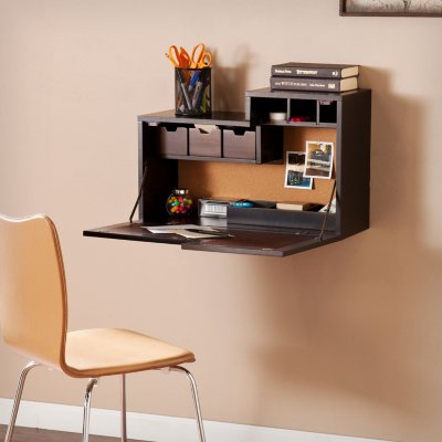 Brandiham Wall Mount Desk, Black/Chocolate