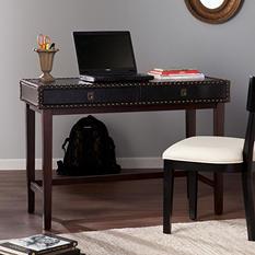 Rydona Faux Leather Writing Desk, Black/Espresso