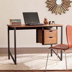 Assumi Writing Desk, Dark Oak/Black