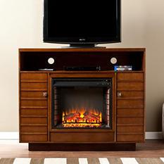 Graciella Media Console Fireplace - Dark Tobaco/Espresso
