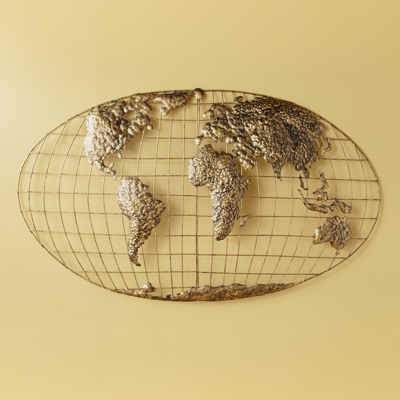 "SEI Decor Iron World Map 46"" Wall Art with 3D Construction"
