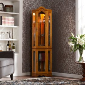Lighted Corner Curio Cabinet - Oak