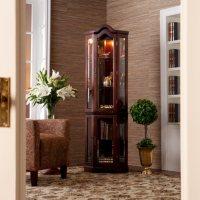 Lighted Corner Curio Cabinet - Mahogany
