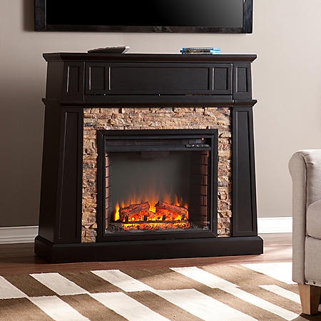 Excellent Elmwood Stone Electric Fireplace Media Console Download Free Architecture Designs Scobabritishbridgeorg