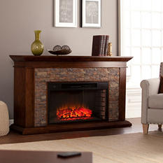 Cumberland Electric Fireplace, Whiskey Maple