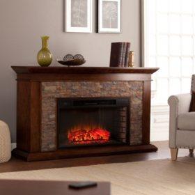 Cumberland Electric Fireplace, Whiskey Maple