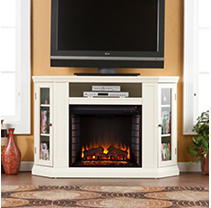 Windsor Electric Media Fireplace-Ivory