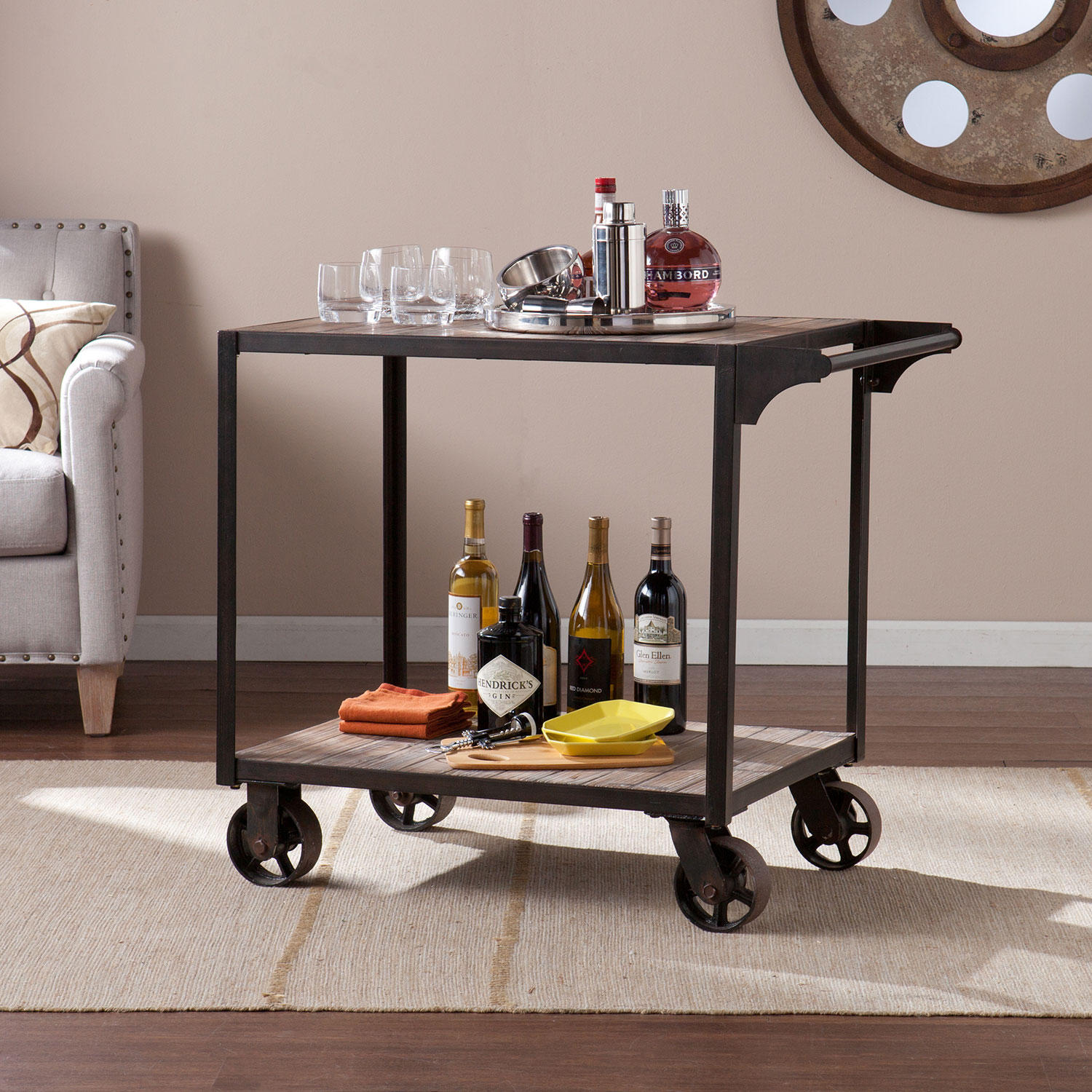 SEI SC1202 Tucker Bar Cart with Free-rolling casters
