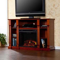 Athena Media Console Fireplace - Classic Mahogany