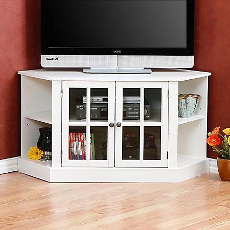 Evans Corner Media Stand - White