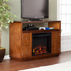 Caraway Media Console Fireplace - Dark Tobacco