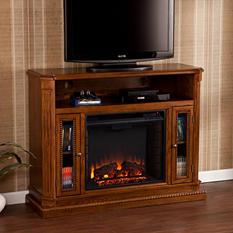 Candard Media Console Fireplace - Rich Brown Oak