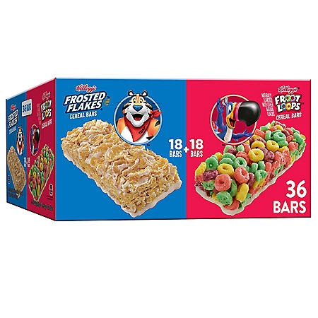 Kellogg's Frosted Flakes & Froot Loops On-The-Go Cereal Bars, Variety Pack  (36 pk.)