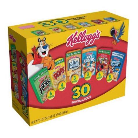 Kellogg's Cereal Jumbo Variety Pack (31.37 oz., 30 ct.)