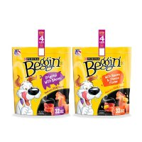 Purina Beggin' Strips Real Meat Dog Treats Variety Pack, Bacon With Bacon & Cheese Flavors - (2) 32 oz. Pouches