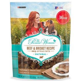 The Pioneer Woman Dog Treats - Natural Grain-Free Beef & Brisket Recipe BBQ Style Cuts (36 oz.)
