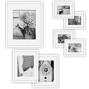 gallery perfect 7 piece frame set white - White Picture Frame Set