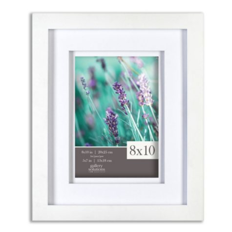 """Gallery Solutions 8"""" x 10"""" White Frame with White Airfloat Mat"""