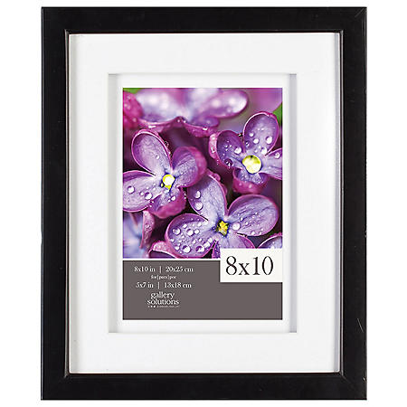 """Gallery Solutions 8"""" x 10"""" Black Frame with White Airfloat Mat"""