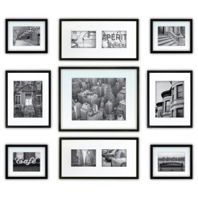 9-Piece Photo Frame Kit, Black