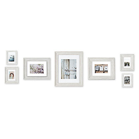 7-Piece Mixed Profile Matted Frame Kit, Distressed White