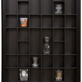 17 x 21 Decorative Shot Glass Case, Black