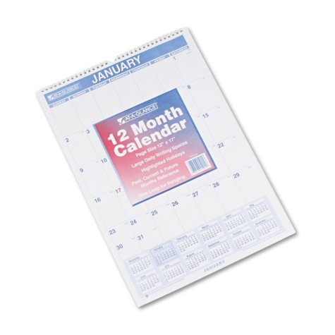 AT-A-GLANCE - Monthly Wall Calendar with Ruled Daily Blocks, 12 x 17, White -  2016