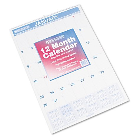 AT-A-GLANCE - Monthly Wall Calendar with Ruled Daily Blocks, 15 1/2 x 22 3/4, White -  2016