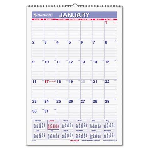 AT-A-GLANCE Erasable Wall Calendar, 15 1/2 x 22 3/4, White, 2017