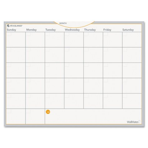 AT-A-GLANCE - WallMates Self-Adhesive Dry Erase Monthly Planning Surface - White - 24 x 18