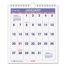 """AT-A-GLANCE Mini Monthly Wall Calendar, 6 1/2"""" x 7 1/2"""", White, 2018"""